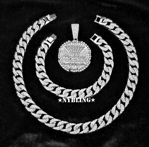 3pc COMBO SET Miami Cuban Choker Necklace & Bracelet with XL Last Supper Pendant