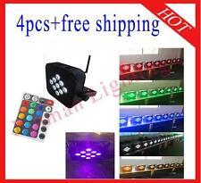 4pcs 9*18W RGBWAP 6 in 1 Wireless DMX512 IR Battery Power Led Par Free Shipping