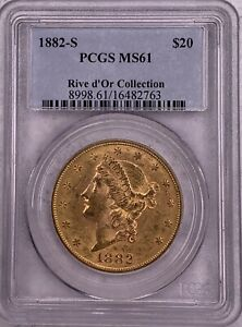 1882-S Rive d'Or Collection Double Eagle PCGS MS61 $20 Liberty Head