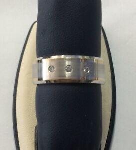 Men's 8MM 14KT Yellow / White Gold Novell Diamond Wedding Band