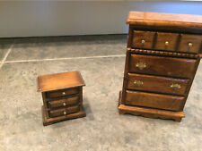 Miniature Doll house Size 1:12 Wood Bedroom dresser and night stand