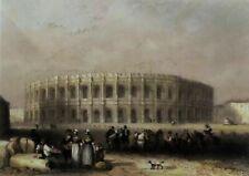 FRANCE: Superbe vue des ARNES de NIMES au 19eme siècle (aquarellée à la main)
