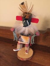 Hopi Katsina Doll Hand Carved Ahola DJ Signed Feathers Wood Chief of High Order