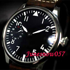 44 mm parnis Black stérile dial 17 bijoux Seagull 6497 Hand-winding Mens Watch P1
