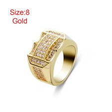 New Hip Hop Male Jewelry Rhinestone Full Crystal Gold Silver Plated Men's Ring