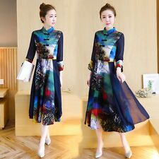Chinese Traditional Cheongsam Qipao Lady Cotton Linen Floral Maxi Long Dress New