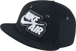 Nike Air True Black Wool Blend Baseball Cap Leather Strap White Logo Swoosh Tick