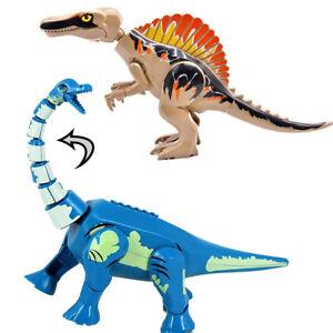 Large Jurassic Dinosaurs Model Brachiosaurus Spinosaurus Building Blocks Kid Toy