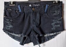 "WOMEN'S SHORTS REFUGE MINI DISTRESSED STRETCH BLACK SIZE 10/28"" FREE POSTAGE"