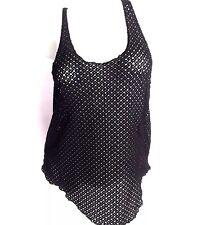 Volcom Mesh Crochet Tank Top Black Women's Sexy Size L Large Sheer See Through