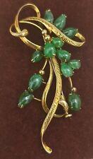 Vintage Gold & Jade Brooch 18K Jadeite Chinese Floral Sprig Pin