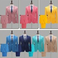 Mens Single Breasted Suit Jackets Pants Notch Lapel Blazer Prom Party Plain Coat