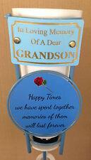 In Loving Memory Of A Dear Grandson Grave Spike Flower Vase Memorial Tribute BHT