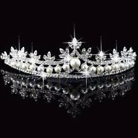 Bridal Rhinestone Pearl Crystal Hair Tiara Princess Wedding Crown Veil Headband