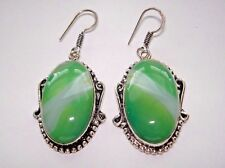 "AB Spring Green Stripe Botswana Agate .925 Silver Earrings Hook 2"" One-of-a-Kind"