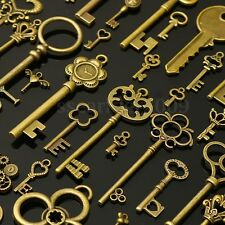 90Pcs Large Antiqued Gold Skeleton Keys Pendants wedding vintage old style lot