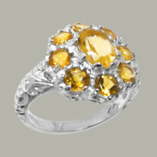 Solid 9ct White Gold Natural Citrine Womens Cluster Ring - Sizes J to Z