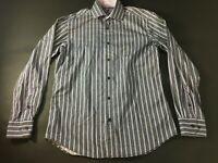 Bugatchi Mens Gray Purple Vertical Striped Button Front Shirt Size M Shaped Fit