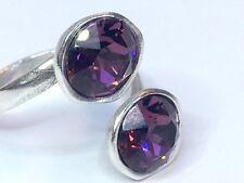 Anillo Rosa De Cristal Swarovski Elements Silver Plated Granate Ajustable