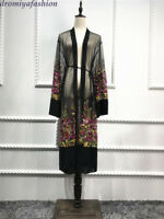 Abaya Dubai Mesh Embroidery Kimono Blouse Muslim Women Floral Dress Cardigan