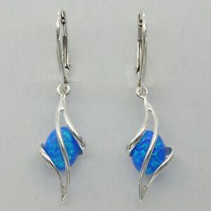 Blue FIRE OPAL Oval Dangle Earrings 925 STERLING SILVER Leverback #242e