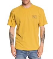 Quiksilver Mens T-Shirt Yellow Size 2XL Logo Print Graphic Crewneck Tee 220