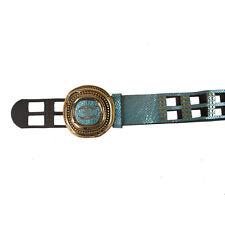 "Just Cavalli Women's Blue 100% Leather Belt US M/34"" IT 90"