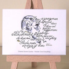 portrait of Charles Darwin creationism or evolution Quotation ACEO Art Deco