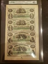 Obsolete Currency 1872 South Carolina,Columbia $5,5,10,10 Uncut Sheet Gem 65 EPQ