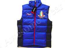 New Ralph Lauren Polo SPORT Blue & Navy Italy Crested Poly Puffer Down Vest XL