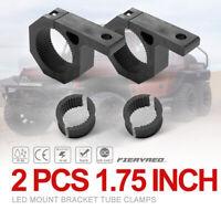 """2pcs LED Work Light Bar Mount Bracket Tube Clamps w/Rubber Insert for 1.75"""" Tube"""
