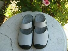 Keen NEW! Women's 10.5  M gray Leather Mary Jane Mules Slip On Wedge Clog