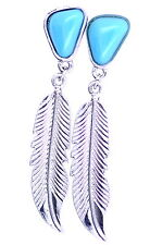 Vintage style silver and blue leaf earrings