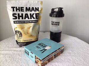 The Man Shake Banana Weight Loss Shake + Chocolate bars + Shaker Free Express!