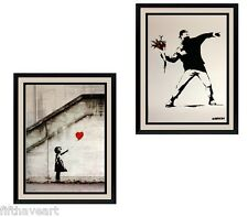 Fantastic Bansky Art Set of 2 Prints Highest Quality Custom Framing