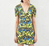 Zara TRF Collection Floral Button Down Dress Size Medium Women Short Sleeves