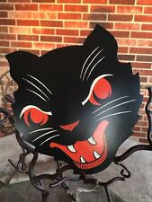 """Vintage Style Beistle Angry Cat,Fangs, Red Eyes Halloween Diecut Decoration, 6"""""""