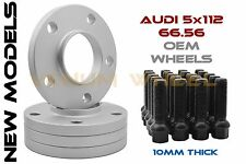 4pc Audi 5x112 (10mm) HubCentric Wheel Spacers With 20pc 14x1.5 Black Lug Bolts