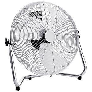 Chrome Floor Fan High Speed 3 Setting Adjustable Metal Air Circulator Cooling