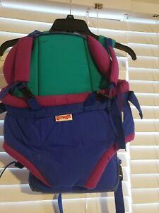 Vtg 80s Snugli Baby Carrier Baby Backpack Multicolor Blue Purple Green hipster