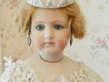 Vintage Petite Blue Guilloche Earrings~ Drops for Jumeaue~ Antique Doll Jewelry