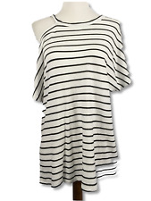Stateside Womens Top Cut Out Stripe Slub Tee Cold Shoulder Short Sleeve Size L
