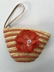Straw Wristlet with Flower