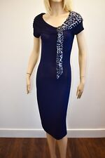 Women's philippe carat couture rhinestone brooch pin blue dress size S/M nt