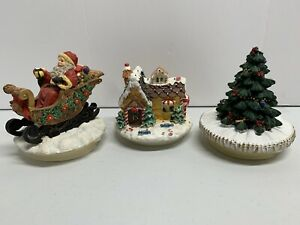 Candle Topper Resin Christmas Tree, Santa In Sleigh, And Cottage House Adorable