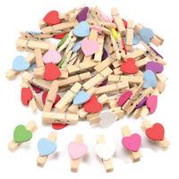 100 Mini Holz Love Heart Pegs Foto BüRoklammer Hochzeit Dekor Handwerk (Gem F8D6