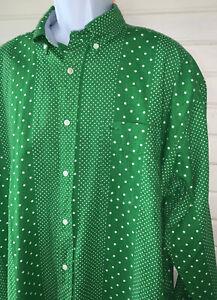 VTG NWT Tommy Hilfiger Sz LARGE Linen Blend Bright Green Polka Dot Stripe Shirt