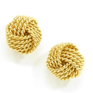 NYJEWEL Tiffany & Co. 18k Yellow Gold Somerset Twist Knot Stud Earrings
