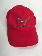 Chevrolet Stingray Corvette Baseball Cap Hat Bright Red Adjustable Made in USA