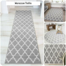 Classic Grey Trellis Rug Moroccan Living Room Rugs Small Large Hallway Runners